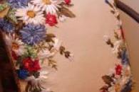 Подушки вишиті стрічками та декорування оксамитовим шнуром